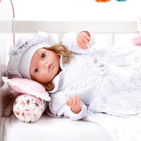 Boneca Bebe Reborn Yasmin Nara Branco Cegonha Reborn Dolls Mais 24 Acessórios 48cm