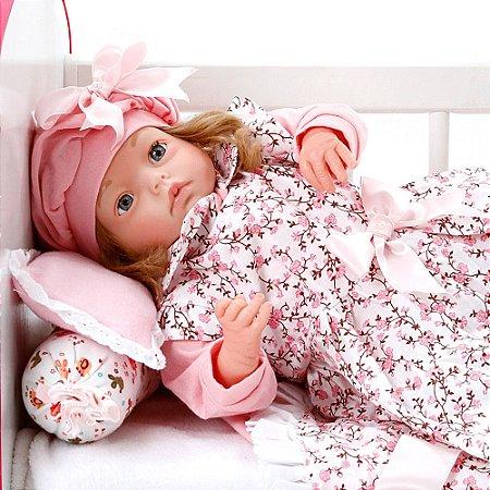 Boneca Bebe Reborn Yasmin Floral Millie Cegonha Reborn Dolls Mais 24 Acessórios 48cm