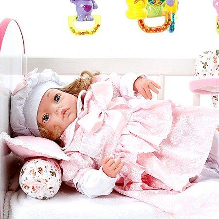Boneca Bebe Reborn Yasmin Monalisa Floral Cegonha Reborn Dolls Mais 24 Acessórios 48cm