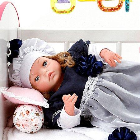 Boneca Bebe Reborn Yasmin Louize Azul Marinho Cegonha Reborn Dolls Mais 24 Acessórios 48cm