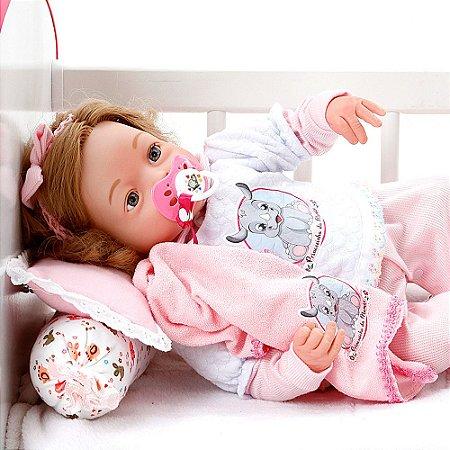 Boneca Bebe Reborn Yasmin Cegonha Reborn Dolls Mais 9 Acessórios 48cm