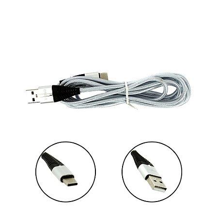 Cabo De Dados USB Super Reforçado Portátil 2 Metros Tipo C Cinza - Inova