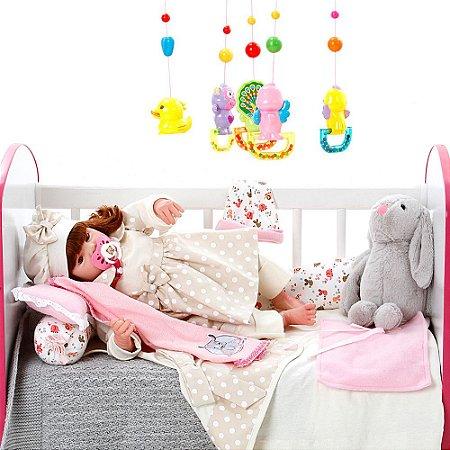 Boneca Bebe Reborn Eloise Balone Caqui Cegonha Reborn Dolls Mais 24 Acessórios 48cm
