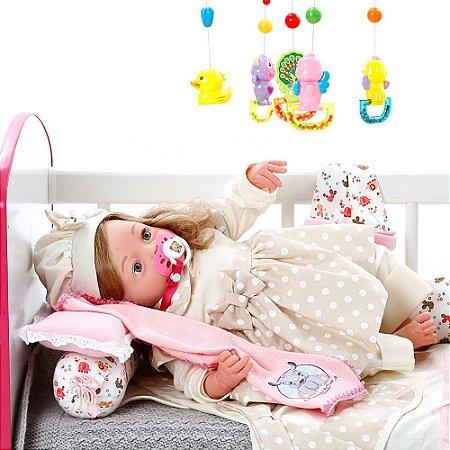 Boneca Bebe Reborn Yasmin Balone Caqui Cegonha Reborn Dolls Mais 24 Acessórios 48cm