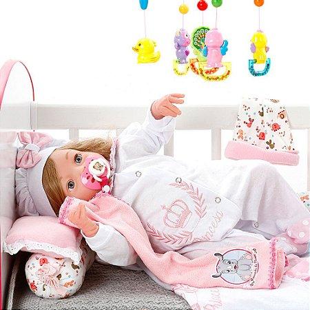 Boneca Bebe Reborn Yasmin Princesa Rosa Poa Cegonha Reborn Dolls Mais 24 Acessórios 48cm