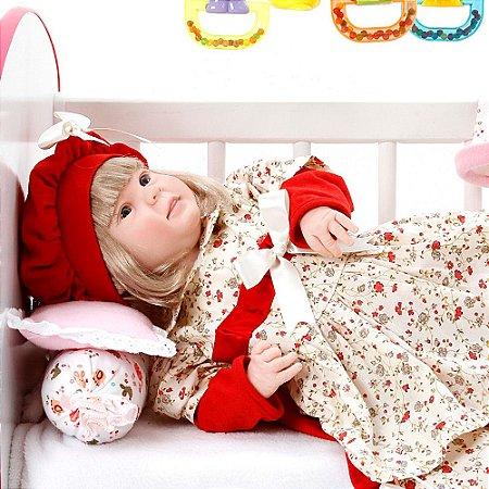 Boneca Bebe Reborn Diandra Maitê Vermelho Cegonha Reborn Dolls Mais 24 Acessórios 50cm