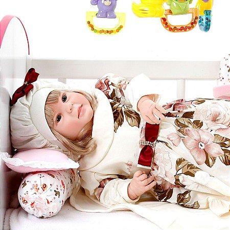 Boneca Bebe Reborn Diandra Grazi Creme Cegonha Reborn Dolls Mais 24 Acessórios 50cm