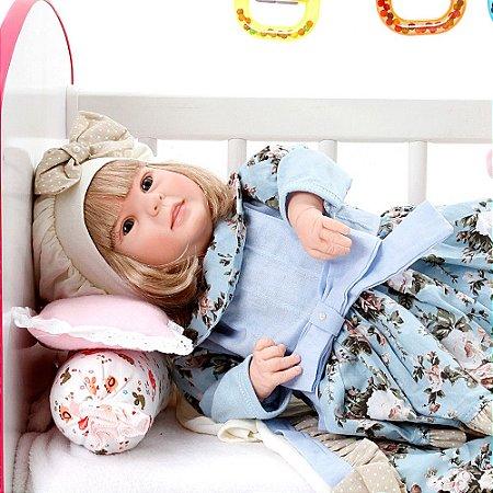 Boneca Bebe Reborn Diandra Lavinia Azul Bebe Cegonha Reborn Dolls Mais 24 Acessórios 50cm