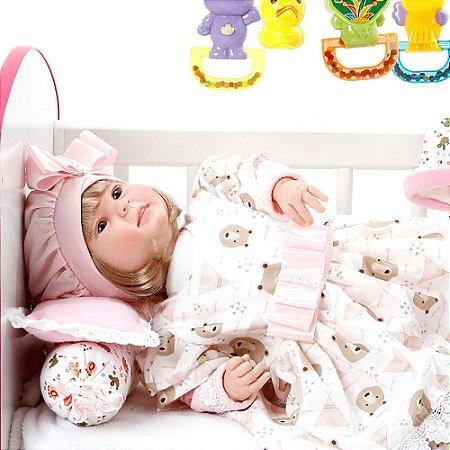 Boneca Bebe Reborn Diandra Moana Rosa Ursinhos Cegonha Reborn Dolls Mais 24 Acessórios 50cm