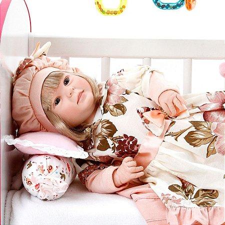Boneca Bebe Reborn Diandra Naomi Rosa Floral Cegonha Reborn Dolls Mais 24 Acessórios 50cm