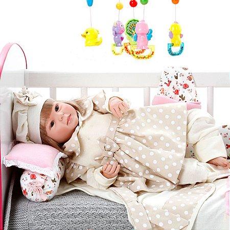 Boneca Bebe Reborn Diandra Balone Caqui Cegonha Reborn Dolls Mais 24 Acessórios 50cm
