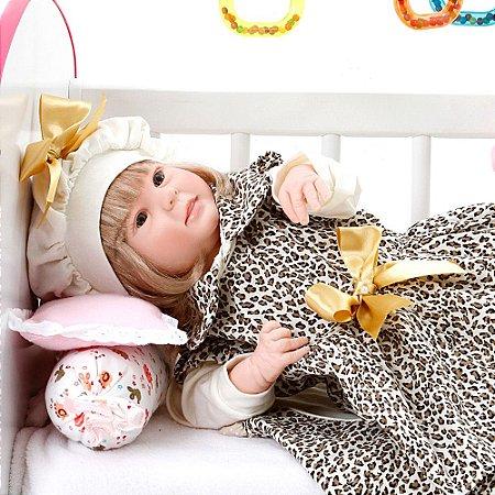 Boneca Bebe Reborn Diandra Graziela Marrom Bichinhos Cegonha Reborn Dolls Mais 24 Acessórios 50cm