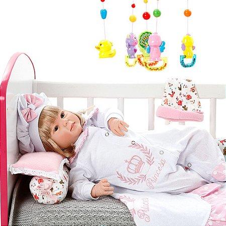 Boneca Bebe Reborn Diandra Princesa Rosa Poa Cegonha Reborn Dolls Mais 24 Acessórios 50cm