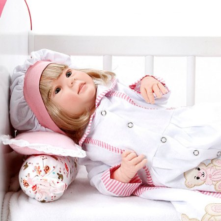 Boneca Bebe Reborn Diandra Ursa Charme Branco Cegonha Reborn Dolls Mais 24 Acessórios 50cm