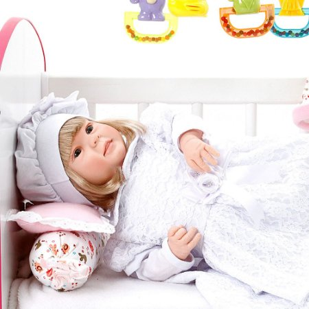 Boneca Bebe Reborn Diandra Nara Branco Cegonha Reborn Dolls Mais 24 Acessórios 50cm