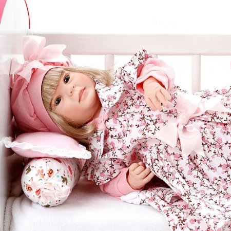 Boneca Bebe Reborn Diandra Floral Millie Cegonha Reborn Dolls Mais 24 Acessórios 50cm