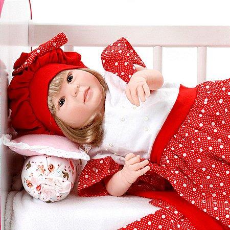 Boneca Bebe Reborn Diandra Balone Vermelho Cegonha Reborn Dolls Mais 24 Acessórios 50cm