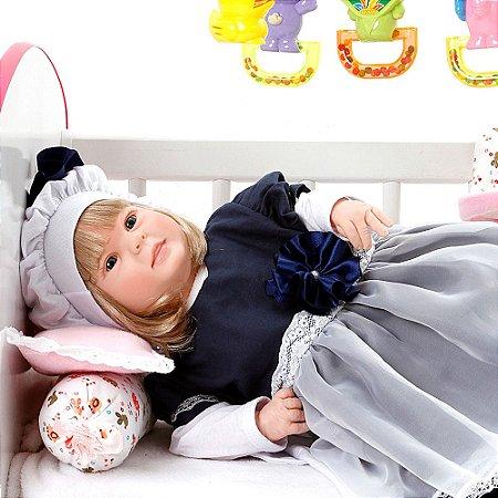 Boneca Bebe Reborn Diandra Louize Azul Marinho Cegonha Reborn Dolls Mais 24 Acessórios 50cm