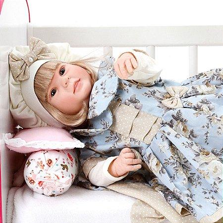 Boneca Bebe Reborn Diandra Chloe Floral Cegonha Reborn Dolls Mais 24 Acessórios 50cm