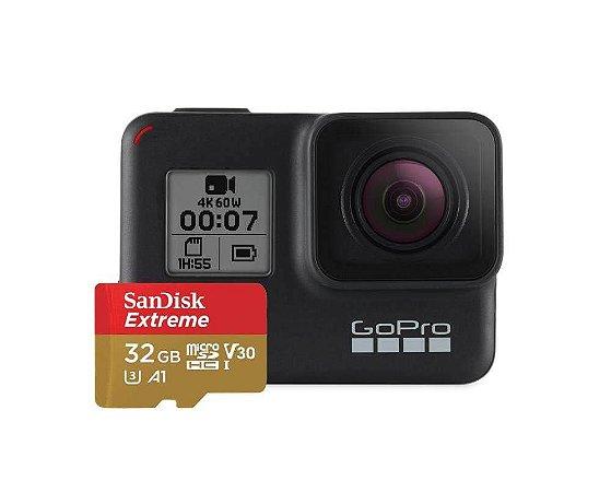 Câmera GoPro Hero 7 Black 12MP Á Prova De Água Gravação 4K HD Live Streaming + Cartão De Memória SanDisk Extreme 32GB
