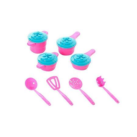 Kit Brinquedo Infantil Mini Panelinhas Mágicas E Utensílios Mágicos Rosa E Verde