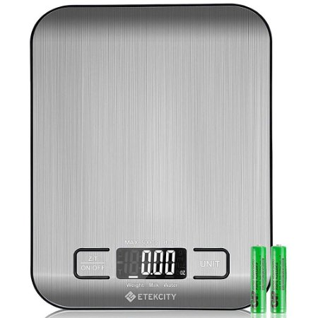 Balança Digital Para Alimentos Aço Inoxidável Escala De peso Gramas E Oz Retroiluminado - EK6015