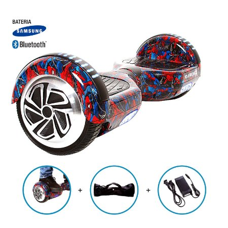 """Hoverboard 6,5"""" Homem Aranha HoverboardX Bateria Samsung e Bluetooth Smart Balance Com Bolsa"""