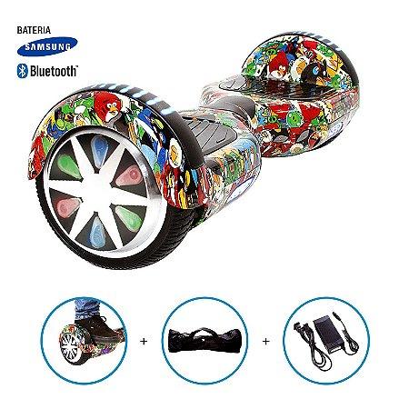 """Hoverboard 6,5"""" Angry Birds HoverboardX Bateria Samsung e Bluetooth Smart Balance Com Bolsa"""