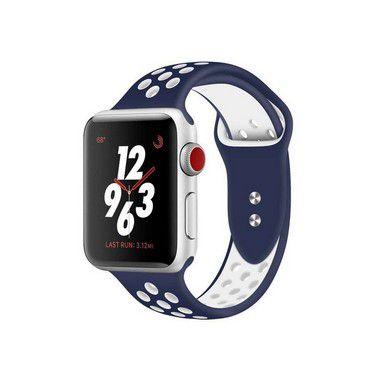 Pulseira Silicone Esportiva Para Apple Watch 38mm Azul Marinho/Branco