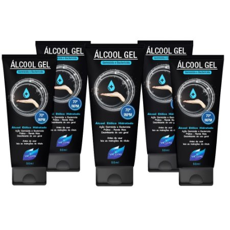 Pacote Com 5 Álcool Gel Etílico Hidratado 50ml Germicida E Bactericida Higiene Pessoal 50ml Vie Luxe Paris