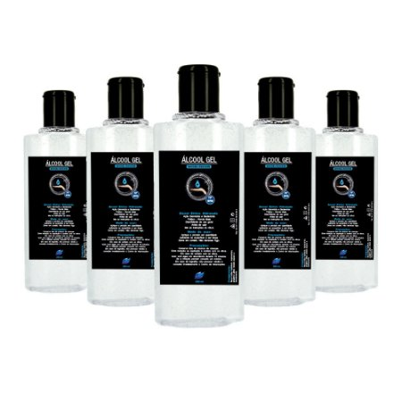 Pacote Com 5 Álcool Gel Etílico Hidratado 70 INPM Germicida E Bactericida Higiene Pessoal 200ml Vie Luxe Paris