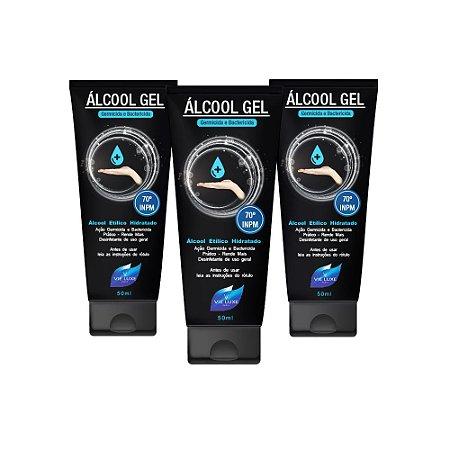 Pacote Com 3 Álcool Gel Etílico Hidratado 50ml Germicida E Bactericida Higiene Pessoal 50ml Vie Luxe Paris