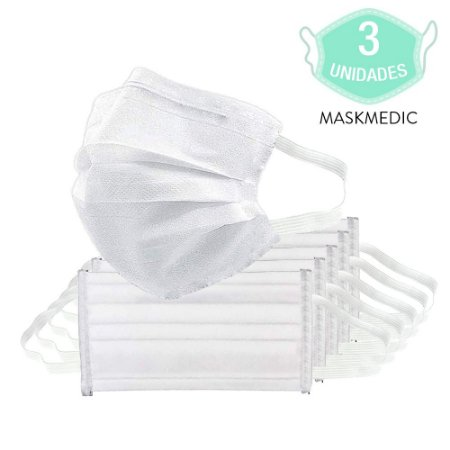 Pacote Com 3 Máscara Descartável Tripla Camada Branca Com Clip Nasal Máxima Proteção MaskMedic De Elástico