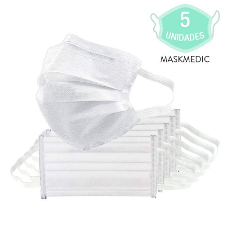 Kit Com 5 Máscara Para Rosto Descartável Dupla Camada De Higiene Pessoal Clip De Nariz MaskMedic