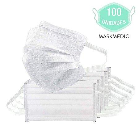 Pacote Com 100 Máscara Descartável Tripla Camada Branca Clip Nasal Máxima Proteção MaskMedic