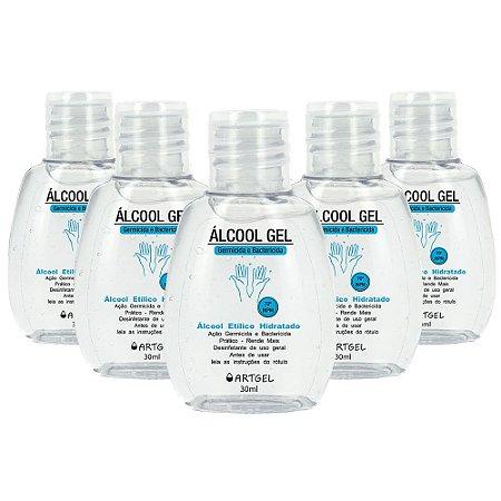 Pacote Com 5 Álcool Gel Etílico Hidratado 70 Inpm Germicida E Bactericida Higiene Pessoal 30ml ArtGel