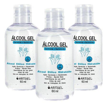 Kit 3 Álcool Gel Higienizador De Mãos ArtGel 70 INPM 60ml