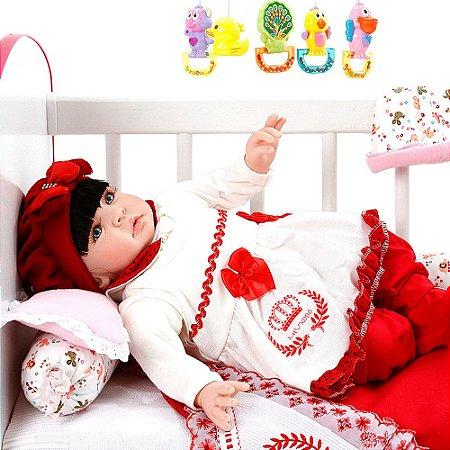 Bebê Reborn Meu Xodo Princesa Larinha Morena Roupa Vermelha 53cm com 20 acessórios