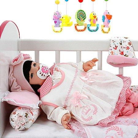 Boneca Bebê Reborn Meu Xodo Princesa Larinha Cabelos Pretos Roupa Rosa 53cm com 20 acessórios