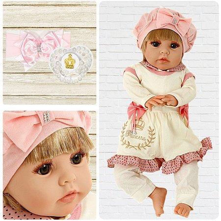 Bebê Reborn Isadora Xodó Rosa 82 Loira Cegonha Dolls 24 Item