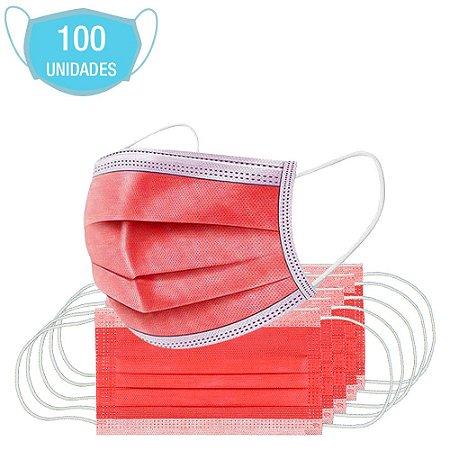 Máscara Vermelha E Branca Cirúrgica Descartável Tripla 100Un