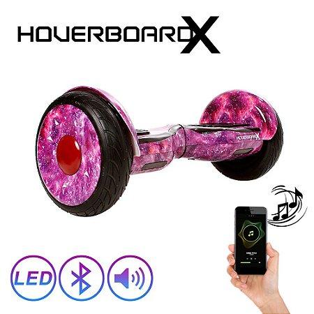 "Hoverboardx Skate Elétrico 10"" Aurora Lilás Barato Bluetooth"