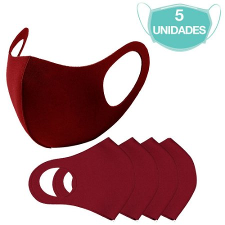 5 Máscaras Laváveis Reutilizável Bordô Cuidado Pessoal