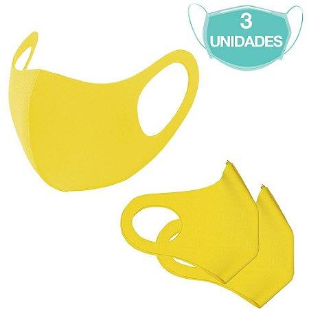 3 Máscaras Laváveis Reutilizável Amarela Cuidado Pessoal