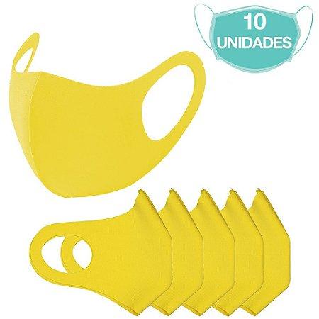10 Máscaras Laváveis Reutilizável Amarela Cuidado Pessoal