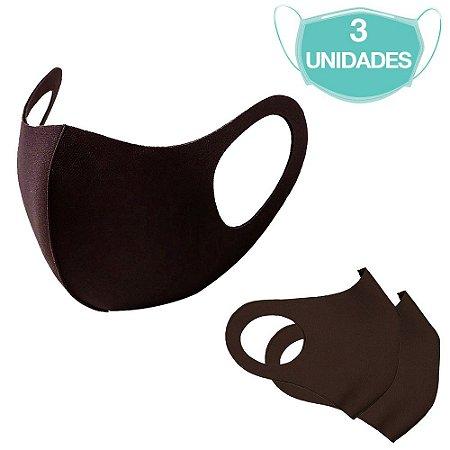 3 Máscaras Laváveis Reutilizável Marrom Cuidado Pessoal