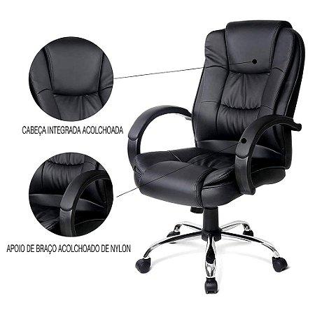 Cadeira para Escritório Giratória em Couro Sintético Preto