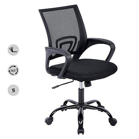 Cadeira para Escritório Giratória Preta com Encosto em Malha