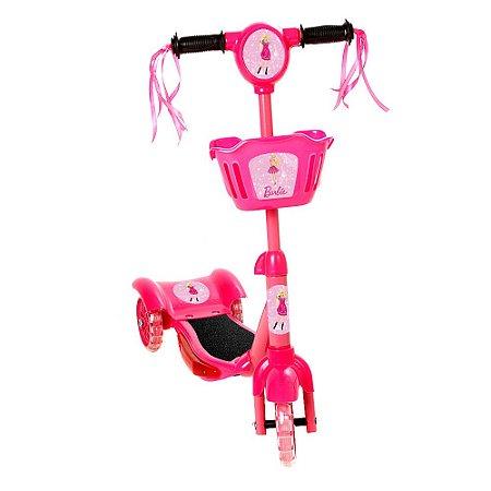 Brinquedo Patinete Infantil Barbie 3 Rodas Com Luz E Som