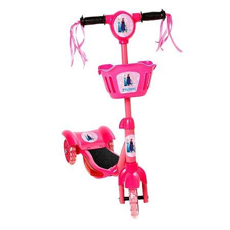 Brinquedo Patinete Infantil Frozen 3 Rodas Com Luz E Som